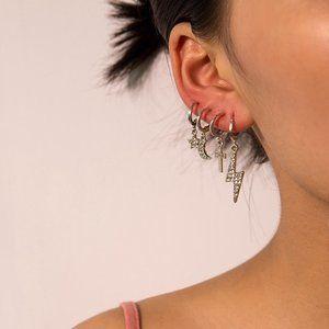Stars Cross 4 Huggie Earrings Set